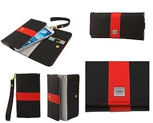 DFV mobile - Funda Premium con Diseño Linea de Color con Tarjetero para => Alcatel OneTouch Pop D5 > Negra