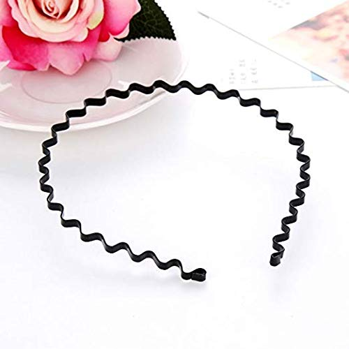 - 3 Pcs Unisex Black Spring Wavy Metal Hair Hoop Band , Headband Headware Accessories Sports Headband for Men Women