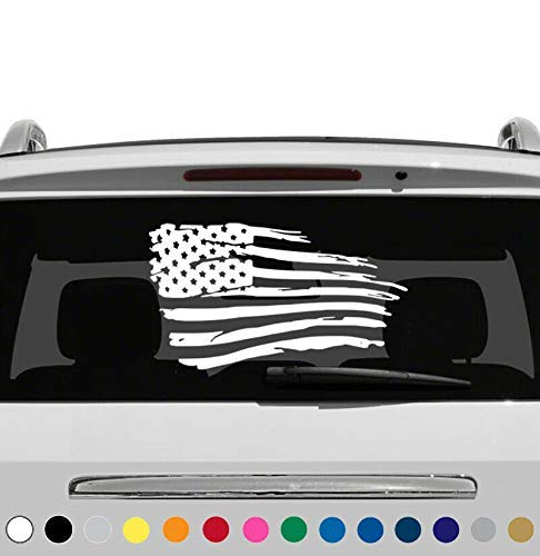 MANY SIZES and COLORS Distressed USA American Flag Car Truck Suv Rear Window Glass Decal Sticker V1