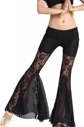 ZLTdream Women's Belly Dance Lace Fishtail Pants Black