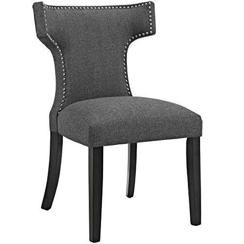 MO- Curve Mid-Century Modern Upholstered Fabric with Nailhead Trim, One Chair, Gray - MODWAY EEI-2221-GRY