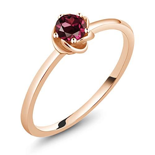 0.22 Ct Round Red Rhodolite Garnet 10K Rose Gold Ring (Size 7)