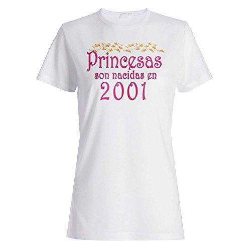 Princesas son nacidas en 2001 camiseta de las mujeres qq51f