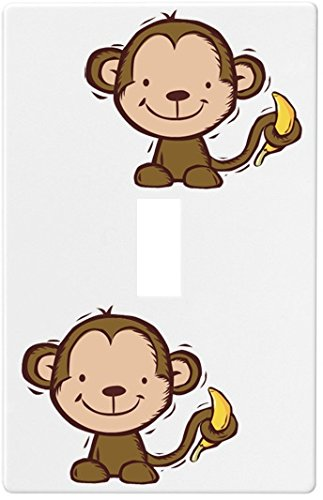 Kid's Monkey and Banana Wallplate Decorative Light Switch Plate Cover (1 Gang...