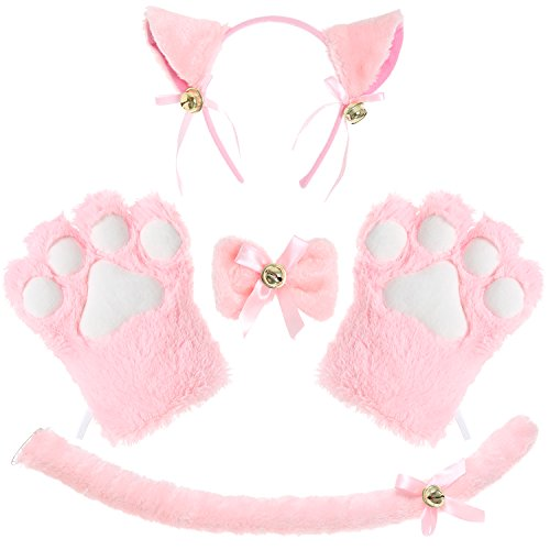 JustinCostume Cat Cosplay Set Ears Tail Collar Paws (Pink 2)]()