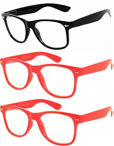 OWL - Non Prescription Glasses - Clear Lens - 2 Red + 1 Black (Pack of 3) -