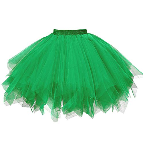 Girstunm Women's 1950s Vintage Petticoats Bubble Tutu Dance Half Slip Skirt Grass Green L/XL]()