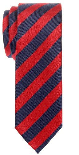 Retreez Exquisite Regimental Stripe Woven Microfiber Skinny Tie - Navy Blue and Red (Necktie Thin Red Mens)