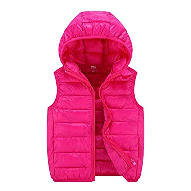 zhxinashu Cotton Down Jacket Kids Waistcoat Children Hooded Sleeveless Vest Coat
