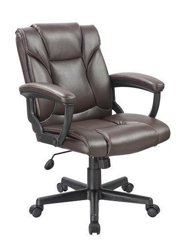 Office Factor Mid Back Chocolate Brown PU Leather Managers Desk Task Computer Office Chair Lumbar Supoort Contrast Stitching by OFFICE FACTOR
