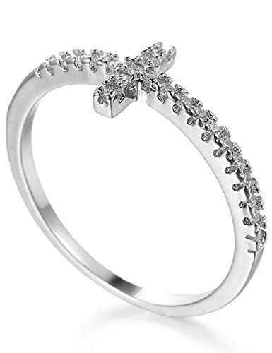 Aivdoirla Cubic Zirconia Rings Sideways Cross Ring Diamond CZ Brass White Gold Plated Wedding Engagement Anniversary Rings for Women Sizes 6 to 10 (Size9) ()