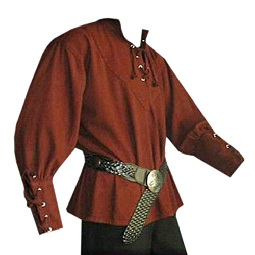 Mens Medieval Pirate Viking Renaissance Costume Adult Lace up Mercenary Scottish Wide Cuff Shirt Jacobite Ghillie Tops (Shirt Cuff Wide)