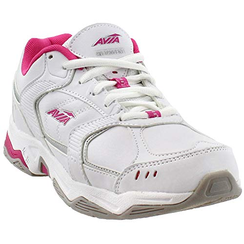Avia Women's Tangent-W, White/Pink Scorch/Chrome Silver, 8.5 M US
