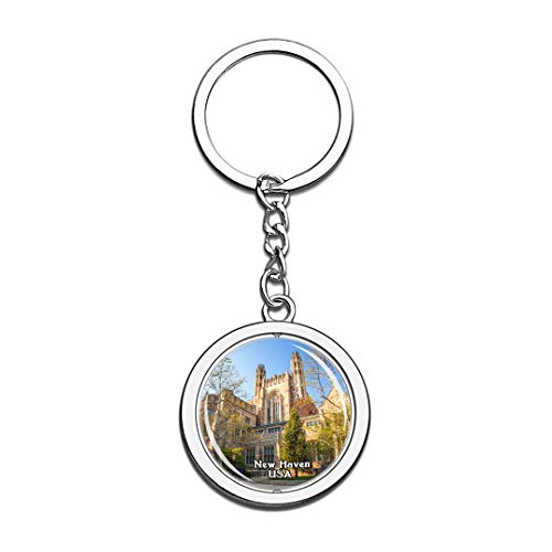 Keychain Yale University New Haven United States USA US Keychain Crystal Spinning Round Stainless Steel Keychains Souvenir Key Chain Ring