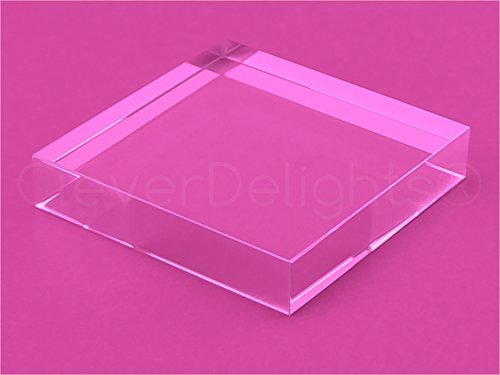 5 Pack – CleverDelights 3 Inch Square Glass Tiles – Clear Solid Glass Tiles – 3″ x 3″ x 5/8″ Thick