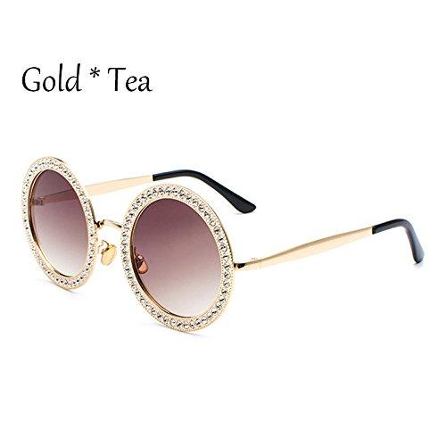 Lentes Sunglasses G mujer UV381 gafas diamantes Frame multicolores Gold C4 Colorido señoras circulares de TL tonos sol sol Rosa de Tea de gafas On8dTqOx