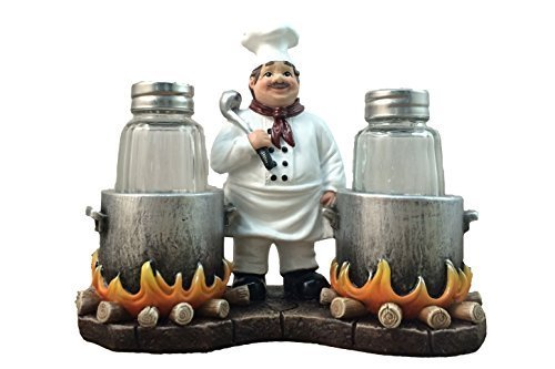 (Standing French Chef With Flaming Pots Decorative Salt And Pepper Shaker by DWK | Country Cottage And Gourmet Kitchen Decorative Collectible Decor)