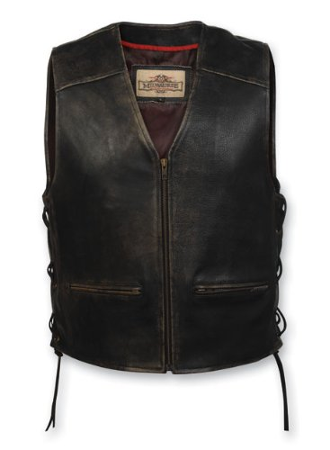 Milwaukee Motorcycle Clothing Company Men's Distressed Leather Lined Vest (XXX-Large)