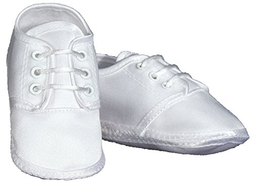 Boys Satin Shoe - White (1 - 6wks to 3mo)