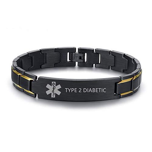 LiFashion LF Stainless Steel Type 2 Diabetic Medical Alert Bracelet Customised ID Tag Silver Medical Bracelets Sos Emergency Warning for Men for Husband,Dad,Grandpa,Family for Diabetic Condition (Type2 Diabetic Bracelet)
