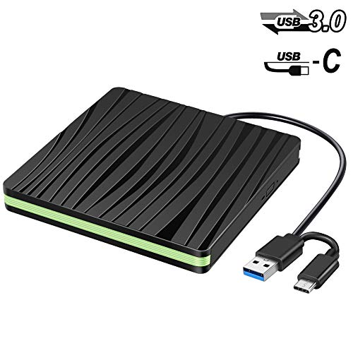 External CD DVD Drive, Portable DVD +/-RW CD +/-RW Optical Drive Burner Player w/USB & USB-C Dual Interface CD/DVD ROM Writer Rewriter Reader Data Transfer for PC Laptop MacBook Windows Linux