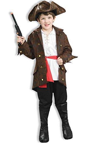 [Mememall Fashion High Seas Pirate Captain Child Costume (L)] (Captain Flint Costume)