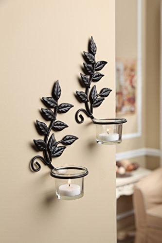 Elegant Expressions Iron Leaf Sconces Candle Holder Set of 2