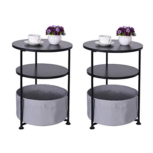 Console Table Coffee Table for Living Room Pack 2, Fooeedd Round Sofa Side Table with Storage Basket Couch End Table Entryway Accent Table (D- Pack 2 for B)