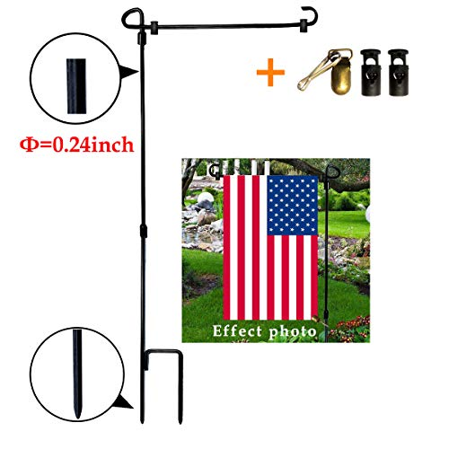 VIEKEY Garden Flag Stand,Premium Garden Flag Pole-Holder Garden Flag Stopper Anti-Wind Clip 35.4 x 16.7 inch Premium Metal Wrought Iron Powder Coated Weather-Proof Paint Steel Without Flag
