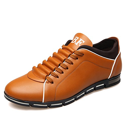 Sun Lorence Men Casual Breathable Running Shoes Leather Sports Fashion Sneakers Yellow je0PtzZ4a