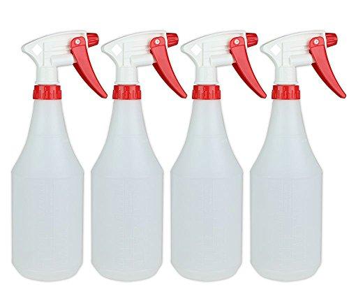 ChefLand 24 Oz Large Durable Round Empty Spray Bottles, Liquid / Water Spray Bottle, Value Pack of 4