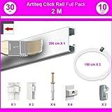 Pack Eco 2 m : cimaise Click Rail - Blanc (Peut être peint) - 8,5 mm