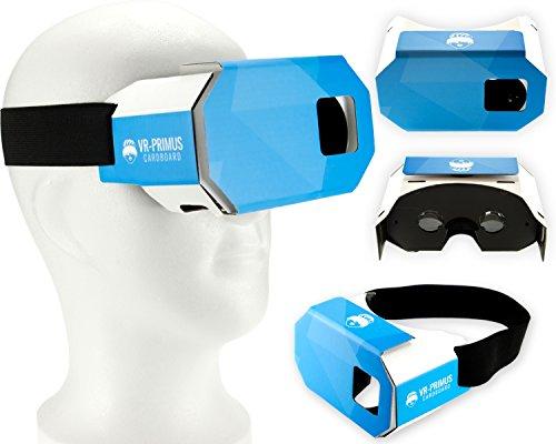 Virtual Reality VR Brille - VR-PRIMUS Cardboard - Leicht, Nasenpolster, Kopfband, Google Cardboard QR Code - Für Android und iOS Smartphones wie iPhone, Samsung, HTC, Sony, LG, Nexus, Huawei, OnePlus, ZTE, Pixel usw. mit 4,5 - 6 Zoll Bildschirm - Produziert in EUROPA