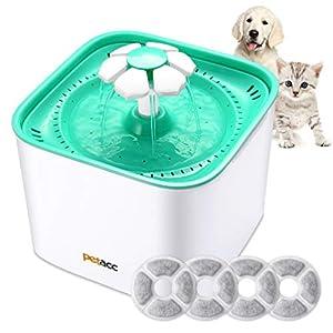 Petacc Bebedero Gatos, Fuente para Gatos con 4 Filtros Bebedero Gatos Automático Silencia,2L (Fuente)