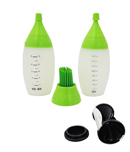 Cooking Essentials Stool - 3 Pack Best BBQ Silicone Basting Brush Set Turkey Grill Bottle and Veggie Spiralizer Cooking Kitchen Ideal Perfect Item Special Unique Essential for Daughter Him Her Mom Dad Gandpa Grandma