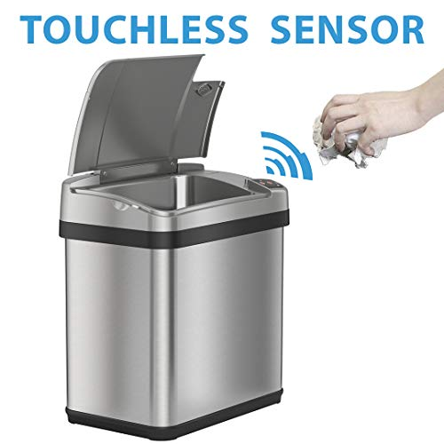 iTouchless 2.5 Gallon Sensor Garbage Can with AbsorbX Odor Filter and Fragrance, Stainless Steel, 02 Gallon