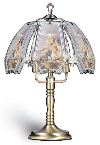 ORE International K301 Glass Lighthouse Scene Touch Lamp, Antique Brass Finish ()