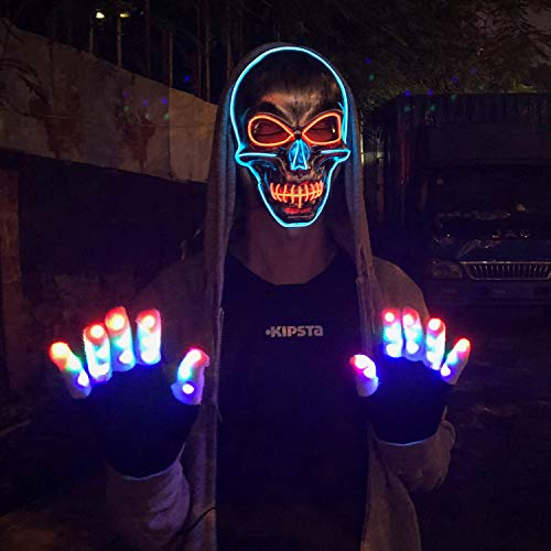 LED Halloween Mask,Scary mask with LED Light,Cosplay Glowing mask for Halloween Festival Party