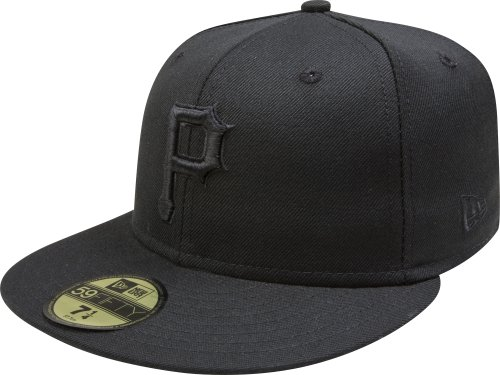 MLB Pittsburgh Pirates Black on Black 59FIFTY Fitted Cap, 8