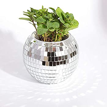Unique and Shining Gift Mirror Disco Ball Hanging Planter for Indoor Plants Boho Style Hanging Flower Pot Indoor Outdoor 5.7 Inch Modern Window Plants Basket Mid Century Mirror Decorative Plant Pots