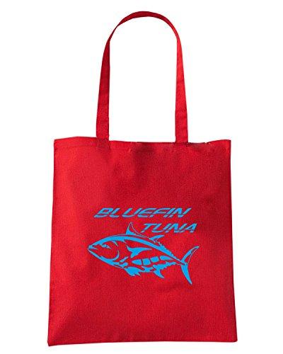 T-Shirtshock - Bolsa para la compra FUN1201 diecut vinyl fishing decal 09 88606 Rojo