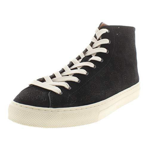 Coach Womens C216 Suede High Top Fashion Sneakers Black 10 Medium (B,M) (High Top Coach Sneakers)