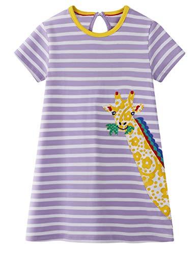 BG LOVE Girls Cotton Dresses 6T Animal Applique Casual Cute Giraffe Kids' Summer Long Tops