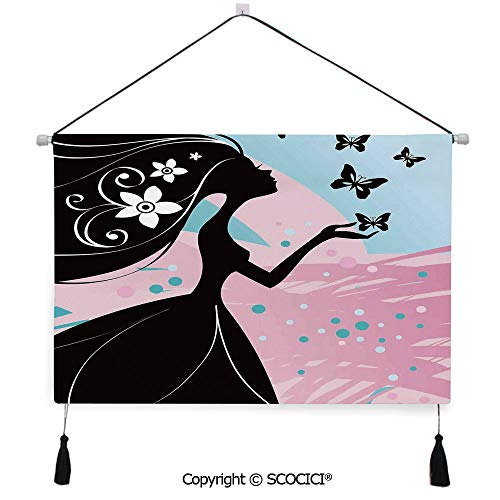 SCOCICI Durable Material Multipurpose W24xL17inch Wall Hanging Tapestry Silhouette of Madam Floral in Soft Background Artwork Decorative Painting Living Room Painting Fabric Background Cloth Wall Cov (Art Silhouette Wall Floral Metal)