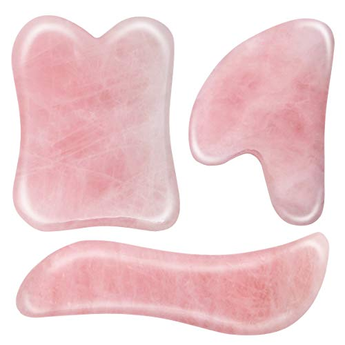 3 Pack Jade Gua Sha Scraping Massage Tool, Pink Natural Stone Guasha Board for SPA Acupuncture Therapy Trigger Point Treatment