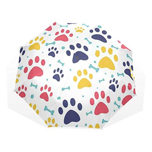 Umbrella Colorful Cat Dog Bone Paw Folding Sun Protection Anti-UV Umbrella Windproof Lightweight for Men/Women