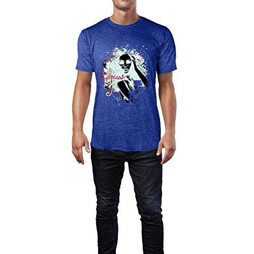 SINUS ART® Collage mit Frau mit Sonnenbrille Herren T-Shirts in Vintage Blau Cooles Fun Shirt mit tollen Aufdruck