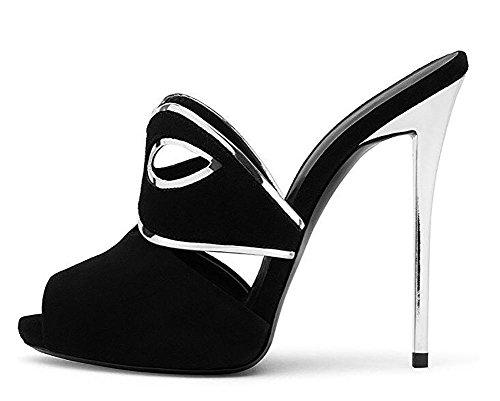 36 Sandali BLACK a Camoscio delle Toe 37 Nero donne mano 6wAngOPzvq