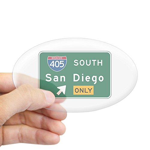 CafePress San Diego, CA Highway Sign Oval Sticker Oval Bumper Sticker, Euro Oval Car Decal