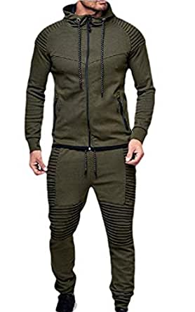 Mens 2 Piece Outfit Sport Workout Gym Tracksuit Hoodies Joggers Set 1 XS